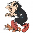 DIY T-Shirt Iron-On Transfer Sticker - Gargamel and His Cat Azrael