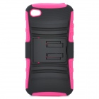 2-in-1 Protective Plastic Back Case for iPhone 4 / 4S - Deep Pink + Black