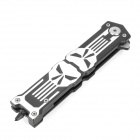 Portable Steel Outdoor Folding Knife with Clip - Black + Silver