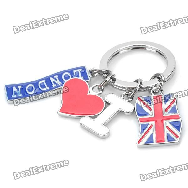 I Love London Key Ring - Red + Blue stainless steel split keychain carabiners climbing key ring fishing tool