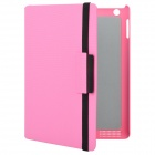 Checked Pattern 360 Degree Rotating Swivel Protective PU Leather Case for The New Ipad - Pink