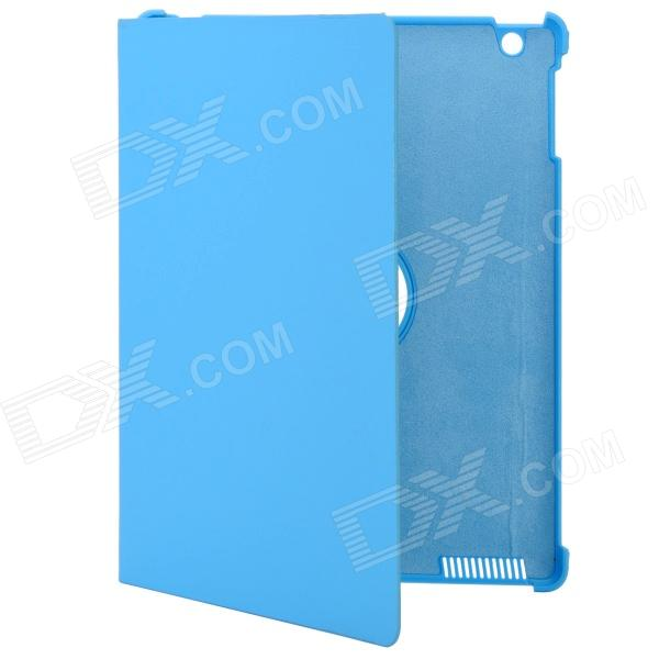 Stylish 360 Degree Rotating Swivel Protective PU Leather Case for The New Ipad - Blue