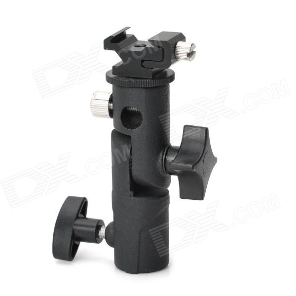 Studio 1/4 Socket Umbrella Light Flash Mount Stand Holder - Black new swivel flash hot shoe umbrella holder mount adapter for studio light stand bracket type e