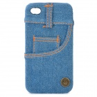 Cool Denim Cover Protective PC Back Case for iPhone 4 / 4S - Blue