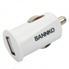 Mini USB 2.0 Car Cigarette Powered Charger for Iphone / Samsung + More - White