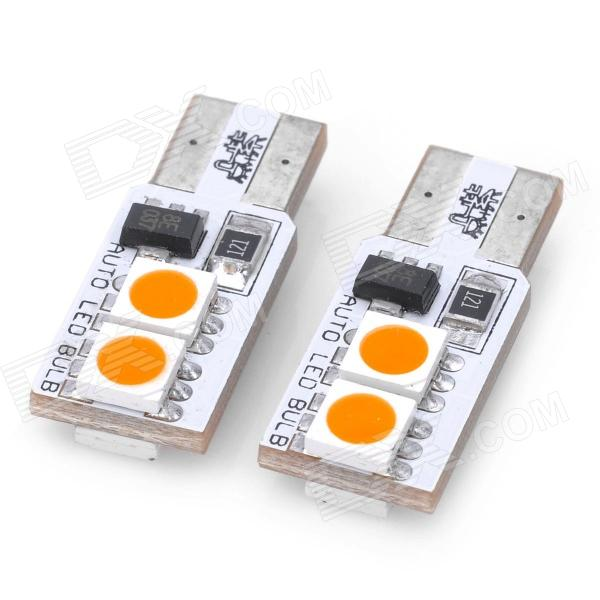 T10 1W 100LM 3200K 4x5050 SMD LED Constant Current Warm White Car Indicator / Clearance Lamp (Pair)
