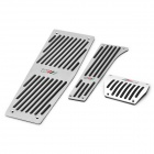 Accelerator Pedal + Brake Pedal + Footrest Pedal Set for BMW E60 / X5 / X6 - Black + Silver