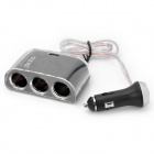3-in-1 Car Cigarette Powered Adapter Extended Socket with USB - Black