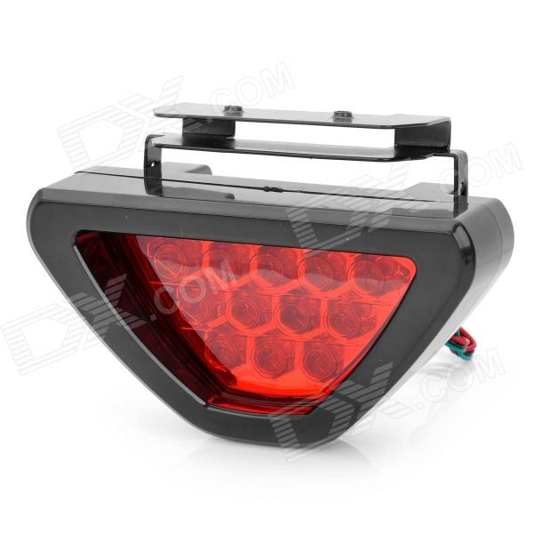 Triangle Shaped 2W 12-LED 2-Mode Red Light Car Brake / Warning Light Lamp - Black 1 2w 90lm 635 700nm 1 led red light car warning light red black 4 x aa page 3 page 3 page 2 page 5