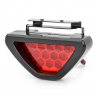 Triangle Shaped 2W 12-LED 2-Mode Red Light Car Brake / Warning Light Lamp - Black