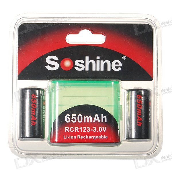 Soshine 650mA 3.0V RCR123(A) Batteries Pack with Carrying Case (2-Pack)