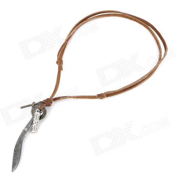 Cool Punk Style Nepal Saber Pendant Cowhide Zinc Alloy Necklace (85cm)