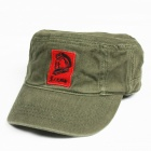 Chairman Mao Pattern Flat Top Cotton Fabric Cap Hat - Army Green