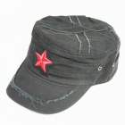 Flat Top Red Star Cotton Hut Mütze - Schwarz