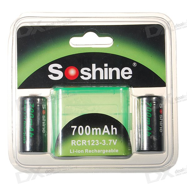 Soshine 700mA 3.7V RCR123(A) Batteries Pack with Carrying Case (2-Pack)