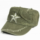 Star Pattern Flat Top Cotton Fabric Cap Hat - Army Green