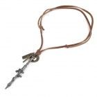 Cool Punk Style Cowhide Chain Zinc Alloy Rocket Launcher Pendant Necklace - Brown + Silver (76cm)