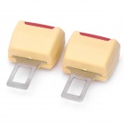 Auto Car Seat Safety Belt Buckle - Beige + Red (2-Piece Pack)
