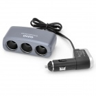 3-in-1 Car Cigarette Powered Adapter Extended Socket with USB - Silver Gray