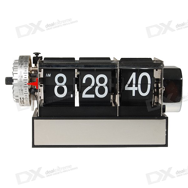 Retro Flip Clock Digital Page Gear con alarma (2 * C Baterías Powered)