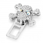 Safety Rhinestone Skull Style Seat Belt Buckle Latches with Cologne Scent - Silver