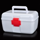 Portable Two-Layer Medicine Pill Storage Box - White + Red
