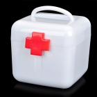 Portable Two-Layer Medicine Pill Storage Box - White + Red (L-Size)