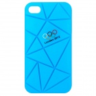 Irregular Gap Coin Stand Protective Plastic Case w/ 2012 Olympics Logo for iPhone 4 / 4S - Blue