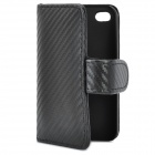 Mat Pattern Protective PU Leather Case w/ 2 Card Slots for iPhone 4 / 4S - Black