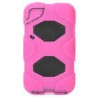 Robot Style Protective Plastic Back Case w/ Silicone Cover for iPod Touch 4 - Deep Pink