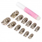 Art Design Leopard Pattern Decorative False Nail Tips -White + Black + Golden (12-Piece)
