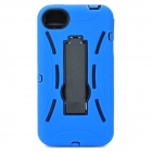 Robot Style Protective ABS Back Case w/ Silicone Cover & Stand for iPhone 4 / 4S - Blue