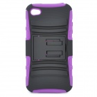 Protective Plastic & PC Back Case for Iphone 4 / 4S - Black + Purple