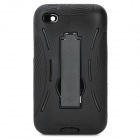Robot Style Protective ABS Back Case w/ Silicone Cover & Stand for iPod Touch 4 - Black