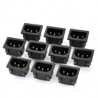 AC 250V 10A Flat Plug Power Socket Outlet - Black (10-Piece Pack)
