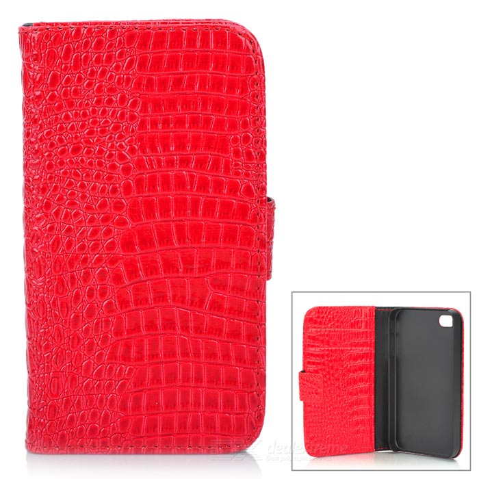 Mat Pattern Protective PU Leather Case w/ 2 Card Slots for Iphone 4 / 4S - Red protective pu leather plastic case w display window for iphone 4 4s maroon