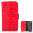 Mat Pattern Protective PU Leather Case w/ 2 Card Slots for iPhone 4 / 4S - Red