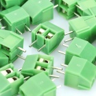 3.5mm 2-Pin Cable Wire Terminal Connectors - Green (50-Piece Pack)