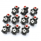 AV 2-Female Jack RCA Socket Connectors (10-Piece Pack)
