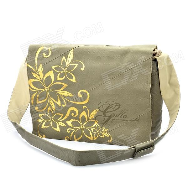 Genuine GOLLA 15.4 Inch Laptop Messenger Bag w/ Tan Flower - Khaki
