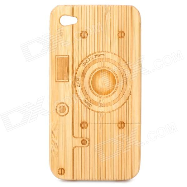 Camera Pattern Protective Bamboo Back Case for Iphone 4 / 4S - Light Yellow