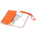 Protective PU Leather Case w/ Strap & 4 Card Slots for Iphone 4 / 4S / 3G / 3GS + More - Orange