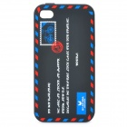 Envelope Pattern Protective Silicone Back Case for iPhone 4 / 4S - Black