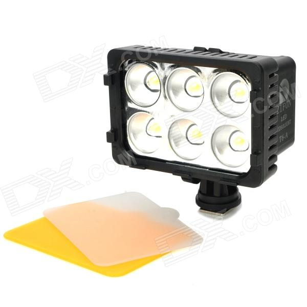 T6-B Rechargeable 16W 5600 / 3200K 6-LED White Light Video Lamp for Camcorder / Camera 10w 4500 3200k 900 lumen 5 led video lamp black 1 x np f550 750 960