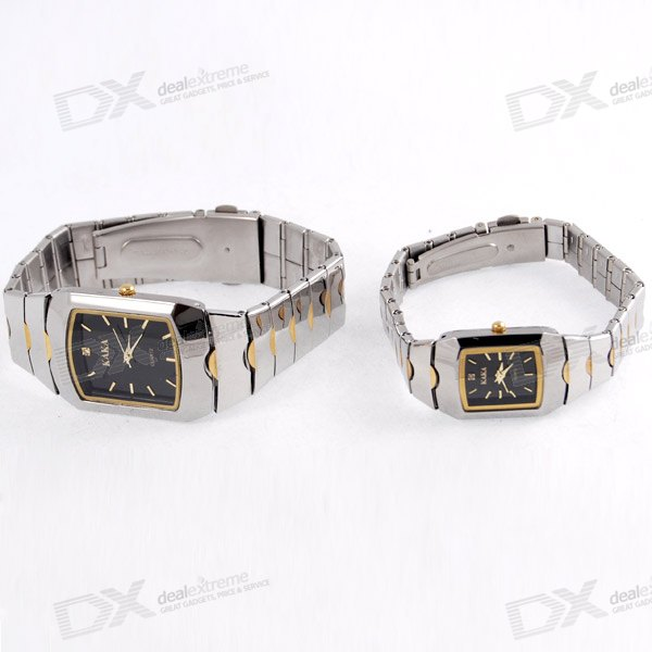 Stylish Quadrate Steel Wristwatch for Lovers and Couples (2-Watch Set)