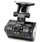 1.3mp wide angle dual lens car dvr with sd / av-out / 14-led ir night vision - black (2.0