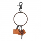 Stylish Zinc Alloy Cowhide Waist Decoration Keychain - Brown + Coffee