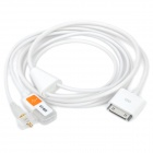 3.5mm AUX & USB Charging Cable for iPhone 4 / 4S / iPad 2 / New iPad - White