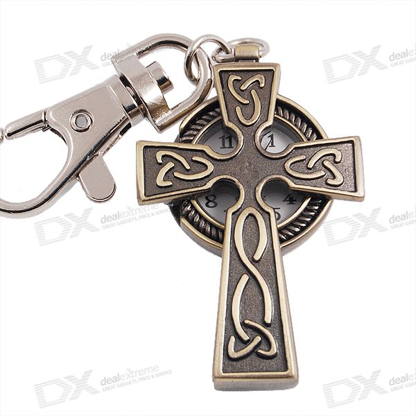Cross Shape Keychain Quartz Watch (Bronze)