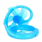 Plastic Folding Fan w/ USB Charging Cable for Computer - Blue (5-Fan-Blade, 92cm)